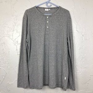 Onia Men's Stripped vneck Button Down Long Sleeve